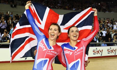 Jess Varnish, left, and Victoria Pendleton of Great Britain celebrate